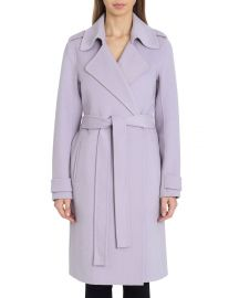 Double-Face Wool Knee-Length Wrap Coat at Last Call