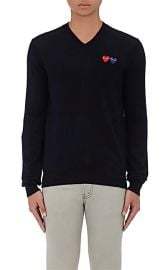 Double-Heart-Patch Wool Sweater at Barneys