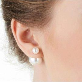 Double Pearl Stud Earrings at Sonja