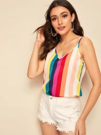 Double V-Neck Rainbow Strap Cami Top at Shein