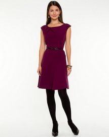 Double Weave Fit and Flare Dress in purple at Le Chateau