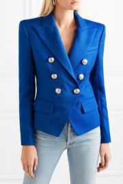 Double-breasted woven blazer at Net A Porter