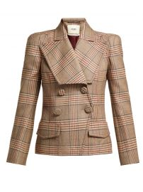 Double-breasted checked wool blazer by Fendi at Matches