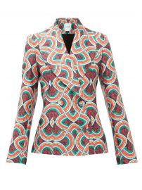 Double-breasted marble-print satin-faille jacket at Matches