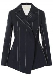 Double-breasted pinstriped linen and cotton-blend blazer at The Outnet