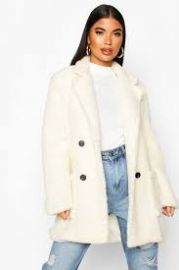 Double breasted teddy coat at Boohoo