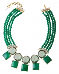 Double row green statement necklace at Charm & Chain
