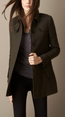 Double wool twill coat at Burberry
