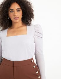 Dramatic Puff Sleeve Top with Square Neck at Eloquii