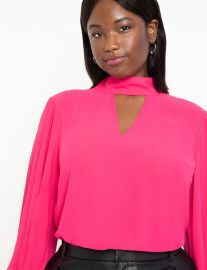 Dramatic Sleeve Blouse with Cutout at Eloquii