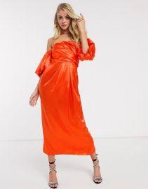 Drape Off Shoulder Midi Dress in Satin by Asos at Asos