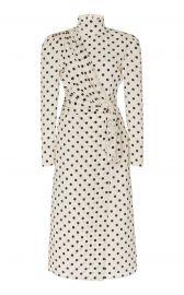 Draped Mock Neck Silk Dot Dress by Alessandra Rich at Moda Operandi