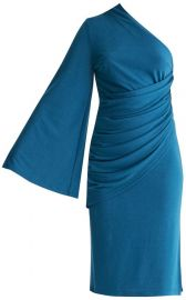 Draped One Shoulder Dress With Ruched Waist &Side Split by Paisie at Wolf and Badger