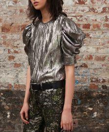 Draped Puff Sleeve Silk-Blend Blouse by Michael Kors at Moda Operandi