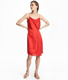 Draped satin dress at H&M