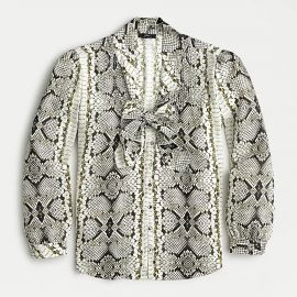 Drapey Tie-Neck Top in Snakeskin Print by J. Crew at J.Crew
