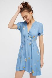 Dream Girl Mini Dress in Chambray Multi at Free People