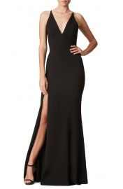 Dress the Population Iris Slit Crepe Gown at Nordstrom