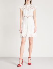 Dress: Cutout embroidered lace mini dress by Sandro at Selfridges