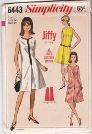 Dress Patterns Misses\' Size 14 Bust 34 A-Line Inverted Pleat Sleeveless Classic Summer Dresses Vintage 1960\'s Simplicity Sewing Pattern 6443 at Etsy