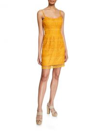 Dress The Population Gwen Spaghetti-Strap Mini Lace Dress at Neiman Marcus