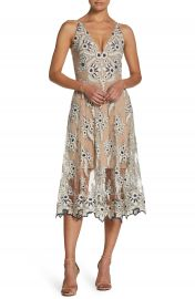 Dress the Population Audrey Embroidered Midi Dress at Nordstrom