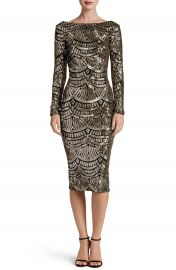 Dress the Population Emery Scoop Back Sequin Midi Dress at Nordstrom