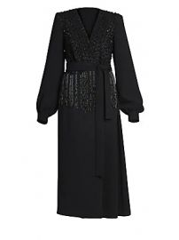 Dries Van Noten - Embellished V-Neck Midi Dress at Saks Fifth Avenue