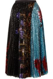 Dries Van Noten - Pleated sequined floral-print tulle midi skirt at Net A Porter