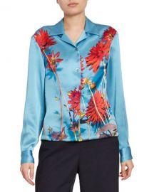 Dries Van Noten Dahlia Floral-Print Satin Button-Front Blouse at Neiman Marcus