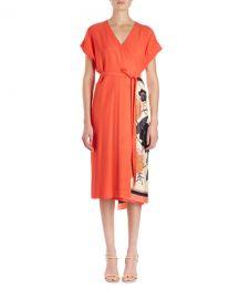 Dries Van Noten Defix Short-Sleeve Wrap Dress w  Foulard Side Scarf at Neiman Marcus
