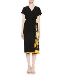 Dries Van Noten Defix Short-Sleeve Wrap Dress w  Foulard Side Scarf Detail at Bergdorf Goodman