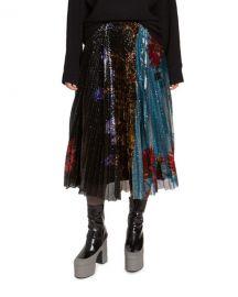 Dries Van Noten Sequined Pleated Midi Skirt at Neiman Marcus