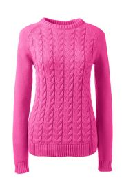 Drifter Cable Sweater in Vibrant Magenta at Lands End
