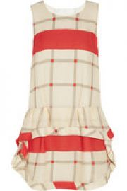 Drop-waist checked silk dress at The Outnet