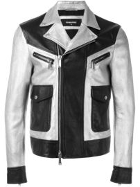 Dsquared2 Two Tone Leather Jacket at Farfetch