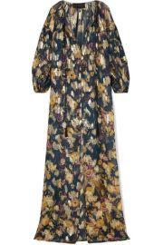 Dundas - Metallic fil coup   silk-blend chiffon maxi dress at Net A Porter