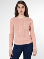 Dusty pink cable knit sweater at American Apparel