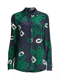 Duvall Link-Print Silk Blouse by Lafayette 148 New York at Saks Fifth Avenue