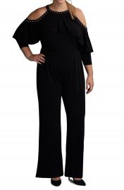 ECI Cold Shoulder Ruffle Stud Jumpsuit  Plus Size at Nordstrom