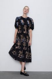 ELASTIC TRIM EMBROIDERED DRESS at Zara
