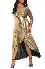 ELOQUII Metallic Long Sleeve Jersey Wrap Maxi Dress  Plus Size    Nordstrom at Nordstrom