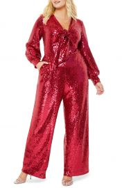 ELOQUII Sequin Tie Front Long Sleeve Jumpsuit  Plus Size    Nordstrom at Nordstrom