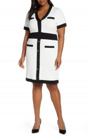 ELOQUII Button Detail Contrast Sweater Dress  Plus Size    Nordstrom at Nordstrom