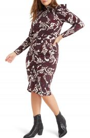 ELOQUII Paisley Long Sleeve Stretch Jersey Dress   Nordstrom at Nordstrom