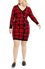 ELOQUII Plaid Long Sleeve Sweater Dress  Plus Size    Nordstrom at Nordstrom