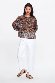 EMBROIDERED FLORAL PRINT BLOUSE at Zara