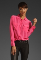 EQUIPMENT Signature Blouse in Hot Pink at Revolve