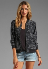 EQUIPMENT Underground Camo Printed Abbot Bomber with Contrast in Traditional Camo at Revolve