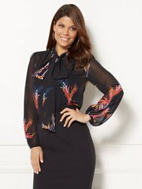 EVA MENDES COLLECTION  ISABELLA BOW BLOUSE FLORAL at NY&C